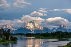 Mountains in Grand Teton National Park at morning. Oxbow Bend on the Snake River. Stock Photo