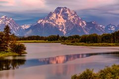 Mountains in Grand Teton National Park at sunrise. Oxbow Bend on the Snake River. Stock Photography