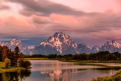 Mountains in Grand Teton National Park at sunrise. Oxbow Bend on the Snake River. Royalty Free Stock Photography