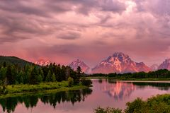 Mountains in Grand Teton National Park at sunrise. Oxbow Bend on the Snake River. Stock Image