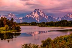 Mountains in Grand Teton National Park at sunrise. Oxbow Bend on the Snake River. Stock Photo