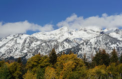 Mountains at Grand Teton National Park, Wyoming, U. SA: Snowcapped mountains with blue sky Royalty Free Stock Images
