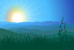 Mountains, grass and sunlight / vector Stock Photo