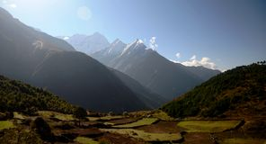 Mountains and green fields of the Everest Royalty Free Stock Images