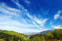 Mountains with green forest landscape  in Carpathians Stock Photo