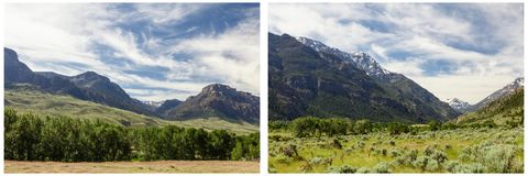 Mountains green grass forest scene collage Stock Photos