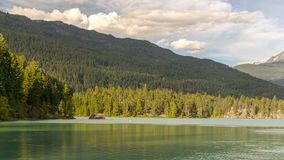 Mountains and Green lake near Whistler Canada Stock Photography