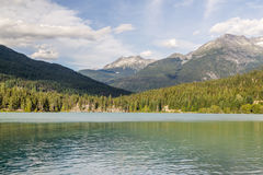 Mountains and Green lake near Whistler Canada Stock Image