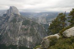 Mountains (Half Dome peak and waterfalls) Stock Photo