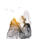 Mountains, hand-drawn with ink Royalty Free Stock Photo