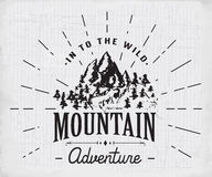 Mountains handdrawn sketch emblem. outdoor camping and hiking activity, Extreme sports, outdoor adventure symbol, vector illustrat Royalty Free Stock Photography