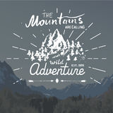 Mountains handdrawn sketch emblem. outdoor camping and hiking activity, Extreme sports, outdoor adventure symbol, vector illustrat Royalty Free Stock Photos