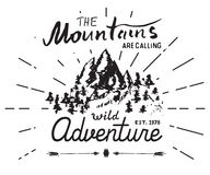 Mountains handdrawn sketch emblem. outdoor camping and hiking activity, Extreme sports, outdoor adventure symbol, vector illustrat Stock Photography
