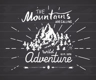 Mountains handdrawn sketch emblem. outdoor camping and hiking activity, Extreme sports, outdoor adventure symbol, vector illustrat Royalty Free Stock Image