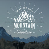 Mountains handdrawn sketch emblem. outdoor camping and hiking activity, Extreme sports, outdoor adventure symbol, vector. Illustration on mountain landscape royalty free illustration