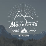 Mountains handdrawn sketch emblem. outdoor camping and hiking activity, Extreme sports, outdoor adventure symbol, vector illustrat Royalty Free Stock Photo