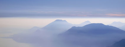 Mountains with haze. Small panoramic picture Royalty Free Stock Photography