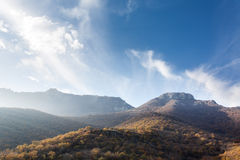 Mountains in the haze. Crimean mountains. Sunny day. Mountains in the morning haze Royalty Free Stock Photography