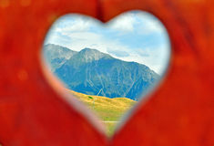 Mountains in heart shape Stock Photography