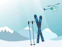 Mountains, helicopter and ski equipment in the snow. Stock Images