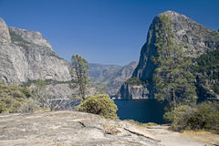 Mountains and Hetch Hetchy Reservoir Stock Photo