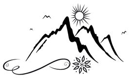 Mountains, hikers. Big mountains, motif for hikers, mountaineers and climbers Royalty Free Stock Photo
