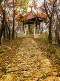 Pavilion. Mountains hiking fall trail leaves falling beijing world color pavilion happy day beautiful life Stock Photos