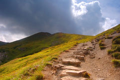 Mountains hiking trail royalty free stock photo