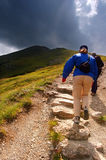Mountains hiking trail. Tatra Mountains rainy landscape and hiking trail royalty free stock photo