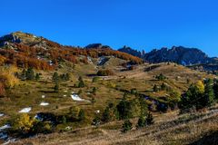 Mountains and hills  in the autumn in Bosnia and Herzegovina Royalty Free Stock Image