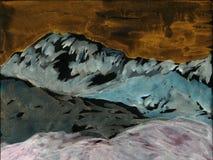 Mountains and hills. Hand drawn illustration. Dramatic landskape royalty free illustration