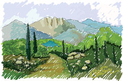Mountains and hills, Italy stock illustration