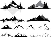 Mountains and Hills, Realistic or Stylized. Various vector illustrations of mountains and hills, some realistic, some stylized. All objects can be ungrouped and Stock Photography