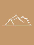 Mountains hills simple lines brown white Royalty Free Stock Photo