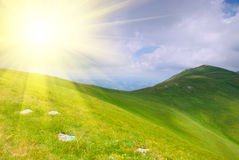 Mountains hills and sunbeams Royalty Free Stock Photos