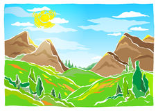 Mountains, hills and trees stock illustration