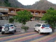 Mountains, Hills, Tress, car, Hotel, evening, cold, peace, luxury royalty free stock photography