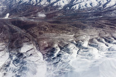 Mountains of the himalaya seen from plane Stock Photo