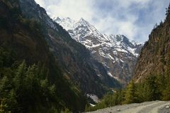 The mountains in the Himalayas stock photography