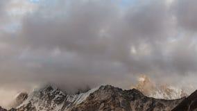 Mountains in Himalayas, Nepal, Everest, Nuptse. Time lapse of the mountains in Himalayas, Nepal, Everest, Nuptse stock video footage