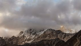Mountains in Himalayas, Nepal, Everest, Nuptse. Time lapse of the mountains in Himalayas, Nepal, Everest, Nuptse stock footage