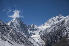 The mountains of the Himalayas. The snowy peaks of the Himalayas Royalty Free Stock Image