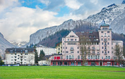 Mountains and historic architecture in Interlaken, Switzerland Stock Image