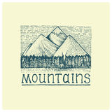 Mountains with house and forest engraved, hand drawn vector illustration in woodcut scratchboard style, vintage drawing Stock Images