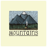 Mountains with house and forest engraved, hand drawn vector illustration in woodcut scratchboard style, vintage drawing Royalty Free Stock Photo