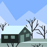 In the mountains. A house high in the mountains at winter stock illustration