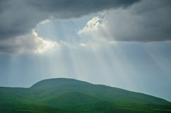 Mountains Of Hungary. Sun Rays Over The Mountains Of Hungary Stock Photo