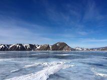 The mountains and the ice of Lake Baikal Royalty Free Stock Images
