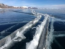 The mountains and the ice of Lake Baikal Stock Photography