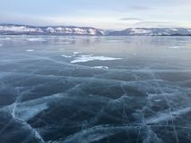 The mountains and the ice of Lake Baikal Royalty Free Stock Image